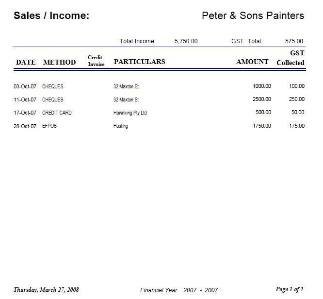 Sample of and Income Report