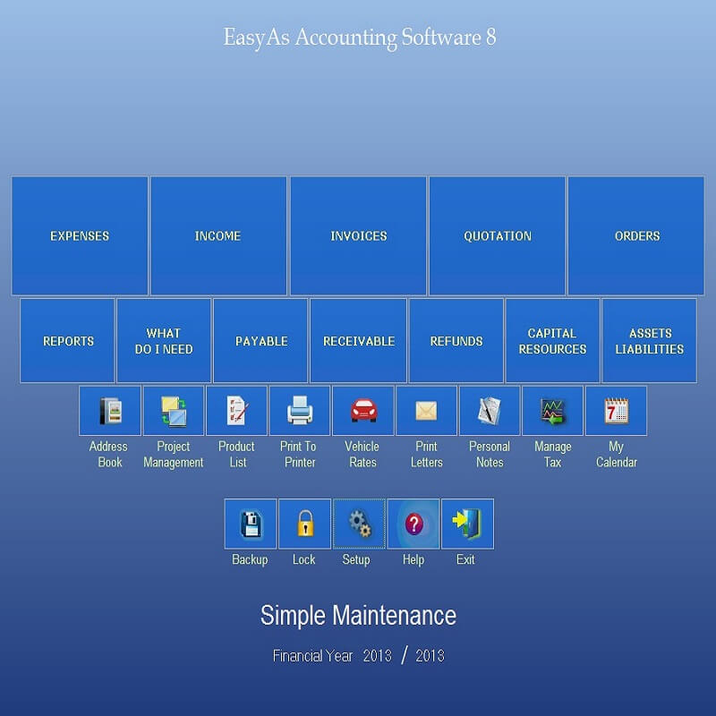 View of the Main Screen of EasyAs Accounting Software