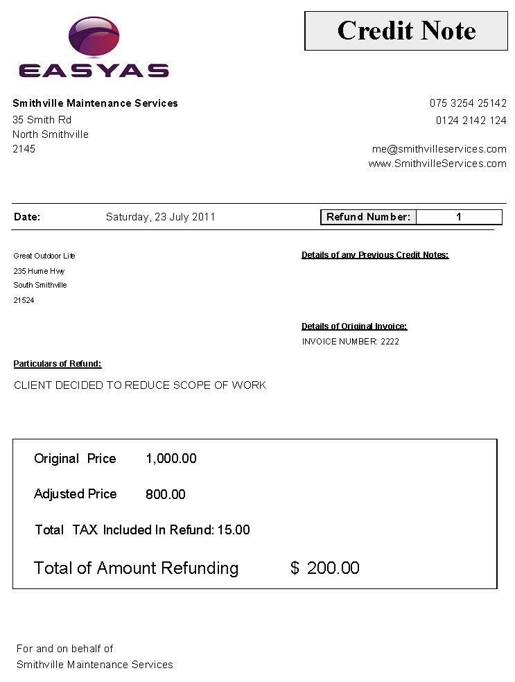 sample credit note, includes gst - sales tax refund amount, Invoice templates