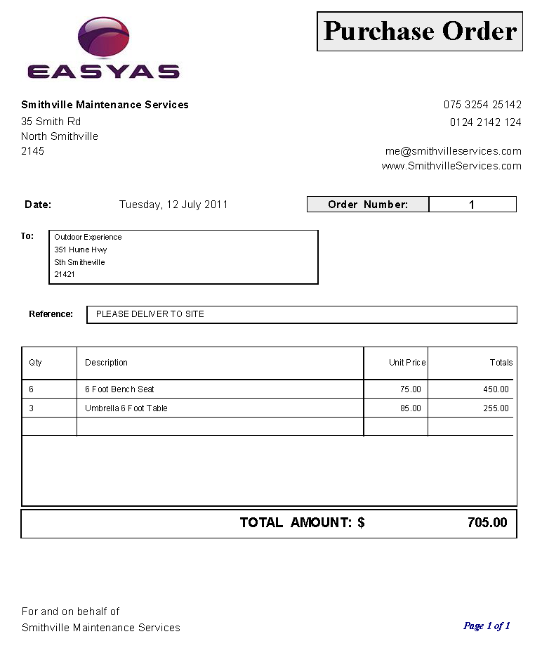 purchase order sample using our set purchase order