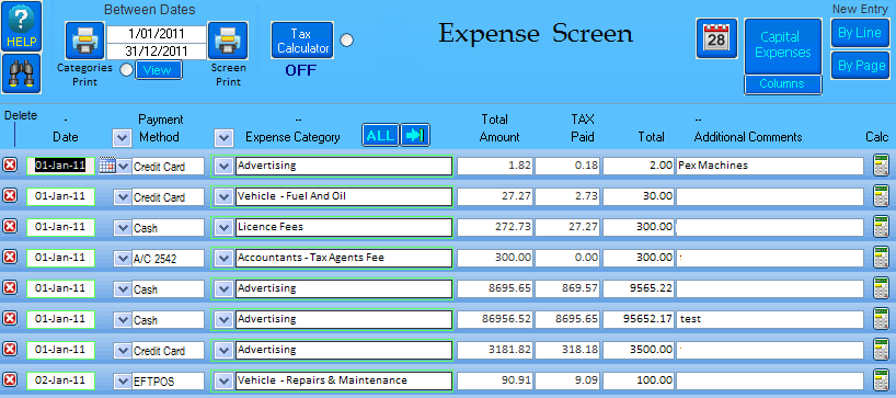 View of the EasyAs expense screen