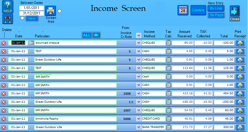 Sample View of Income Screen - simple and easy to use and understand