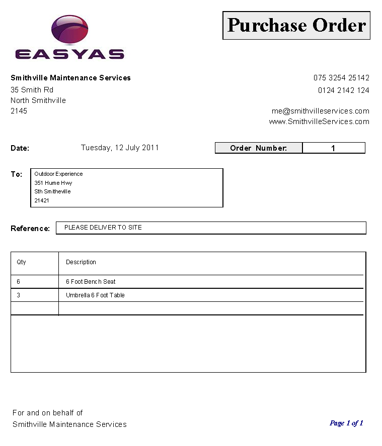 Sample of a Purchase Order with prices showing